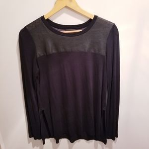 Aritzia Wilfred Free   Black Top Faux Leather Top